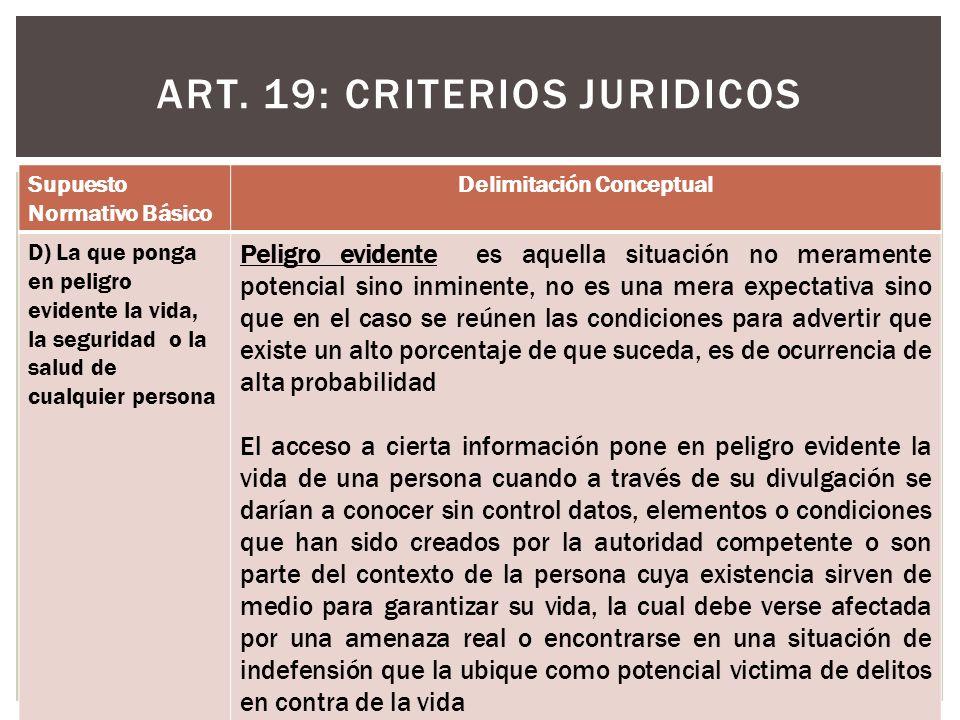 ART. 19: CRITERIOS JURIDICOS Supuesto Normativo Básico Delimitación Conceptual D) La que ponga en peligro evidente la vida, la seguridad o la salud de
