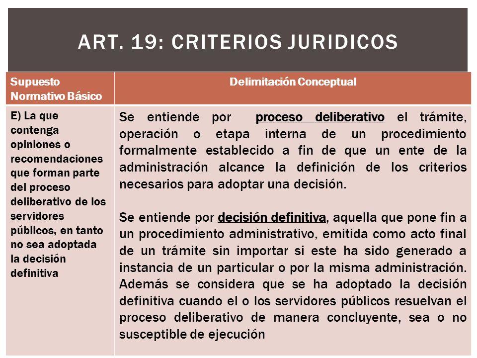 ART. 19: CRITERIOS JURIDICOS Supuesto Normativo Básico Delimitación Conceptual E) La que contenga opiniones o recomendaciones que forman parte del pro