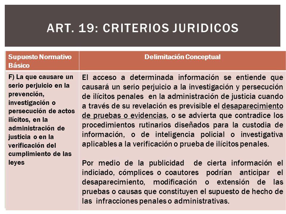 ART. 19: CRITERIOS JURIDICOS Supuesto Normativo Básico Delimitación Conceptual F) La que causare un serio perjuicio en la prevención, investigación o