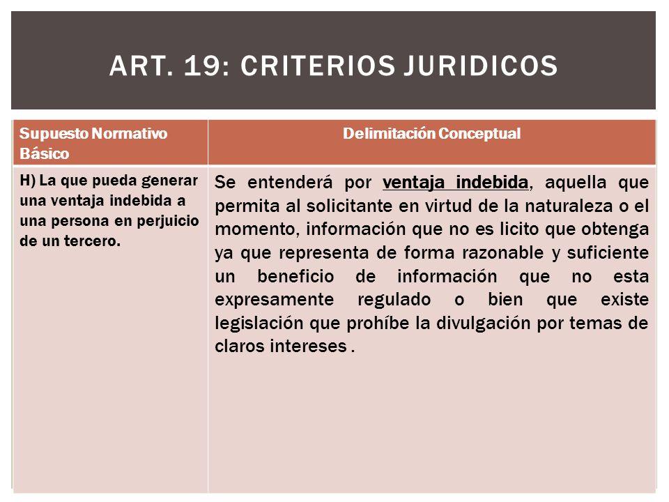 ART. 19: CRITERIOS JURIDICOS Supuesto Normativo Básico Delimitación Conceptual H) La que pueda generar una ventaja indebida a una persona en perjuicio