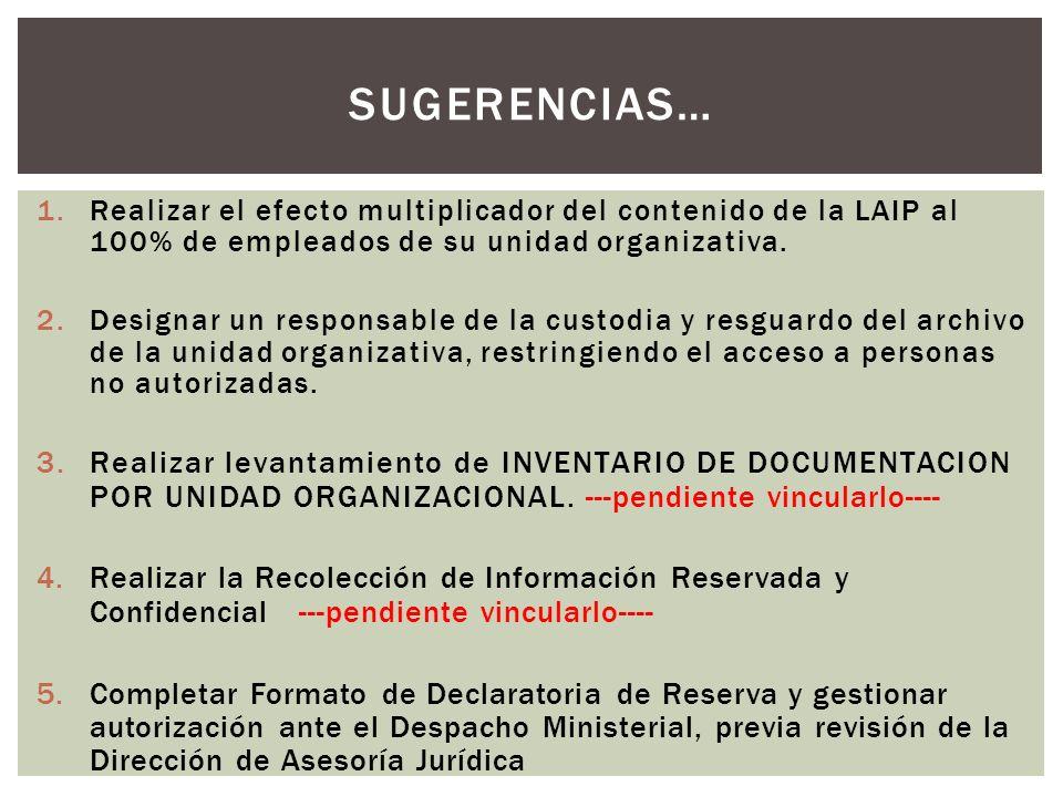 SUGERENCIAS… 1.Realizar el efecto multiplicador del contenido de la LAIP al 100% de empleados de su unidad organizativa.