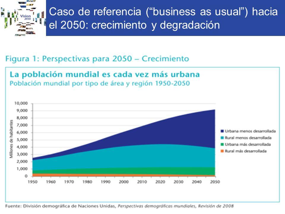 Caso de referencia (business as usual) hacia el 2050: crecimiento y degradación