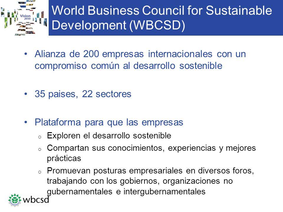 World Business Council for Sustainable Development (WBCSD) Alianza de 200 empresas internacionales con un compromiso común al desarrollo sostenible 35