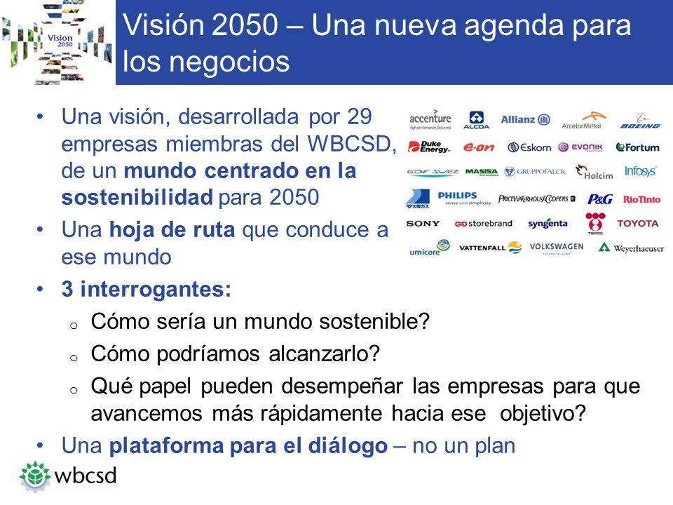 Visión 2050 – Una nueva agenda para los negocios Una visión, desarrollada por 29 empresas miembras del WBCSD, de un mundo centrado en la sostenibilida