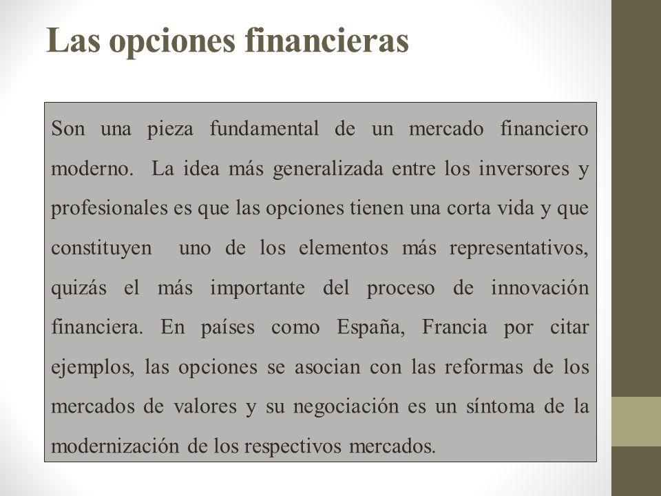 Las opciones financieras Son una pieza fundamental de un mercado financiero moderno.