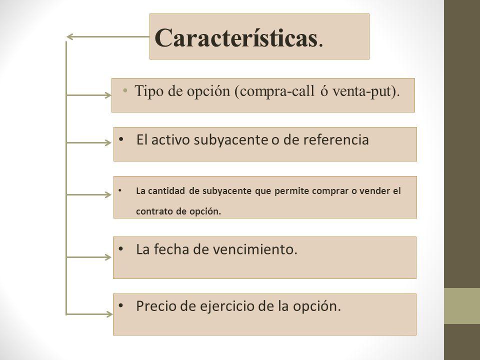 Características.Tipo de opción (compra-call ó venta-put).