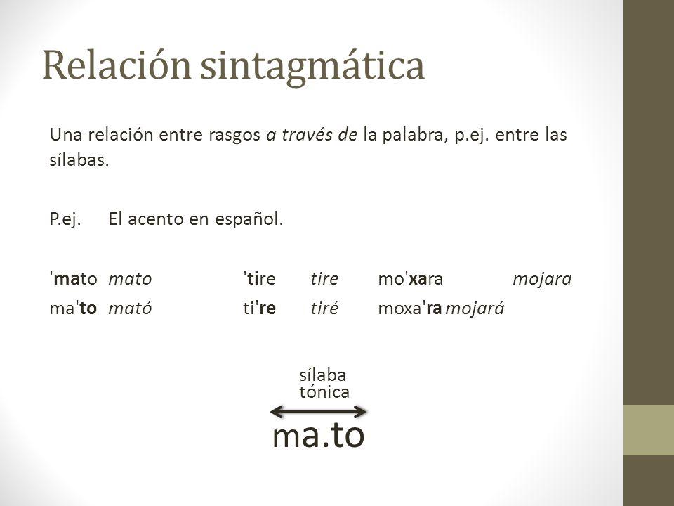 3 333.3 = 'zorrillo' 2 113.1 = 'paloma' 32 31 {nne}tʃu{ʔmã} Un cambio de la tonía en la misma sílaba en una palabra cambia el sentido.