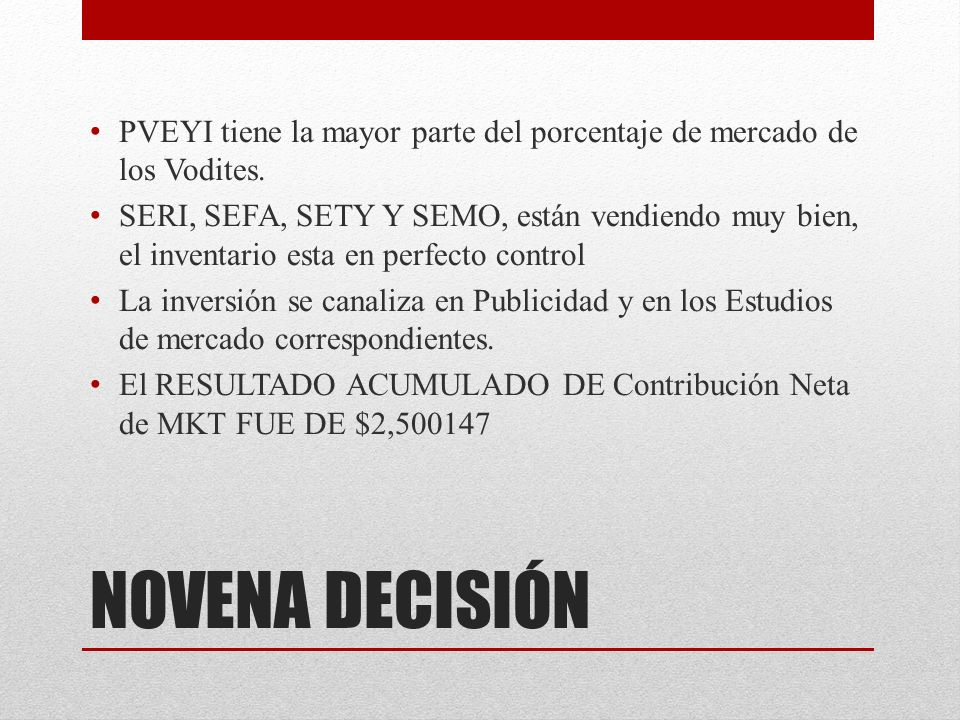 NOVENA DECISIÓN PVEYI tiene la mayor parte del porcentaje de mercado de los Vodites.