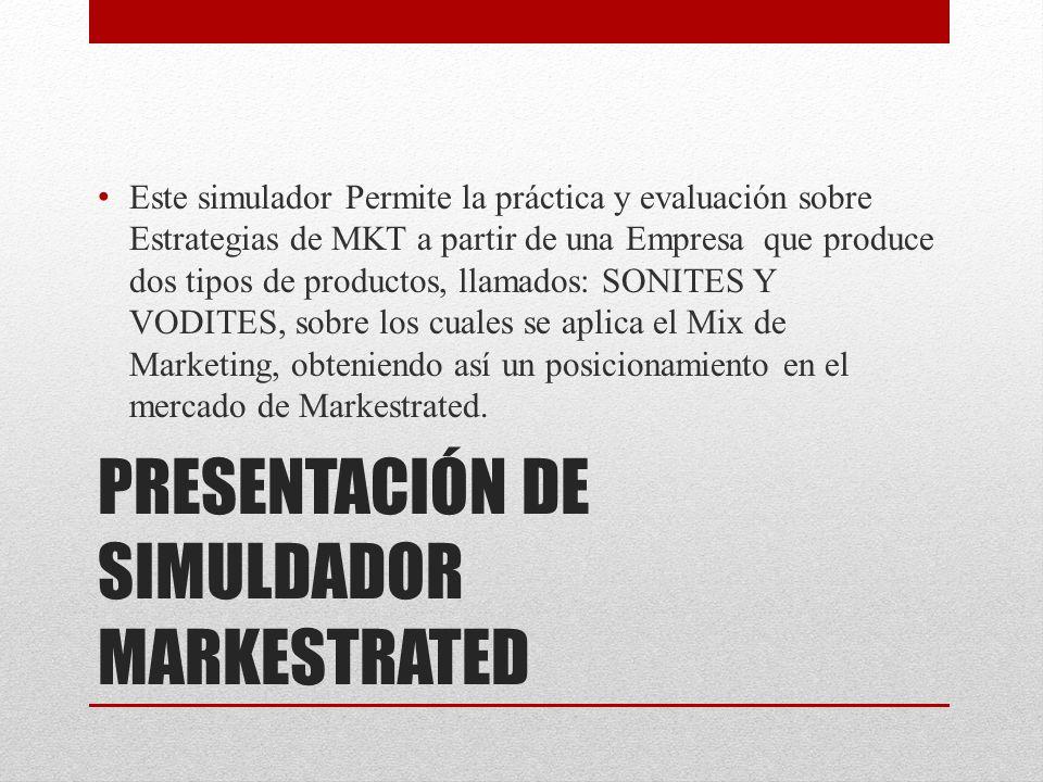 PRESENTACIÓN DE SIMULDADOR MARKESTRATED Este simulador Permite la práctica y evaluación sobre Estrategias de MKT a partir de una Empresa que produce dos tipos de productos, llamados: SONITES Y VODITES, sobre los cuales se aplica el Mix de Marketing, obteniendo así un posicionamiento en el mercado de Markestrated.