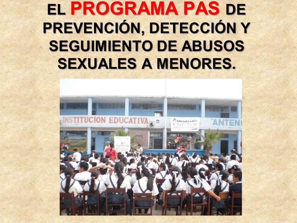 EL PROGRAMA PAS DE PREVENCIÓN, DETECCIÓN Y SEGUIMIENTO DE ABUSOS SEXUALES A MENORES.