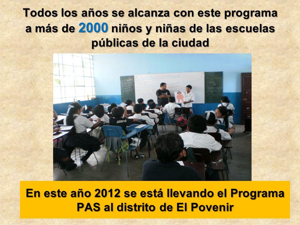 Todos los años se alcanza con este programa a más de 2000 niños y niñas de las escuelas públicas de la ciudad En este año 2012 se está llevando el Programa PAS al distrito de El Povenir