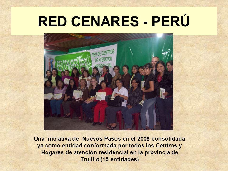 RED CENARES - PERÚ Una iniciativa de Nuevos Pasos en el 2008 consolidada ya como entidad conformada por todos los Centros y Hogares de atención residencial en la provincia de Trujillo (15 entidades)