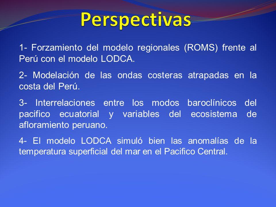 1- Forzamiento del modelo regionales (ROMS) frente al Perú con el modelo LODCA.