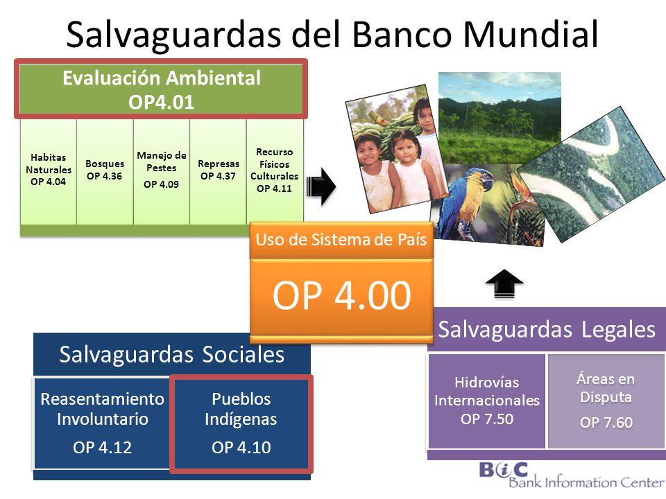 Salvaguardas del Banco Mundial Evaluación Ambiental OP4.01 Habitas Naturales OP 4.04 Bosques OP 4.36 Manejo de Pestes OP 4.09 Represas OP 4.37 Recurso
