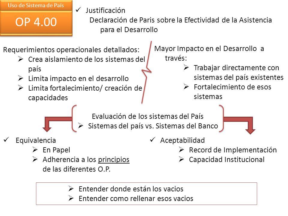 Requerimientos operacionales detallados: Crea aislamiento de los sistemas del país Limita impacto en el desarrollo Limita fortalecimiento/ creación de capacidades Evaluación de los sistemas del País Sistemas del país vs.