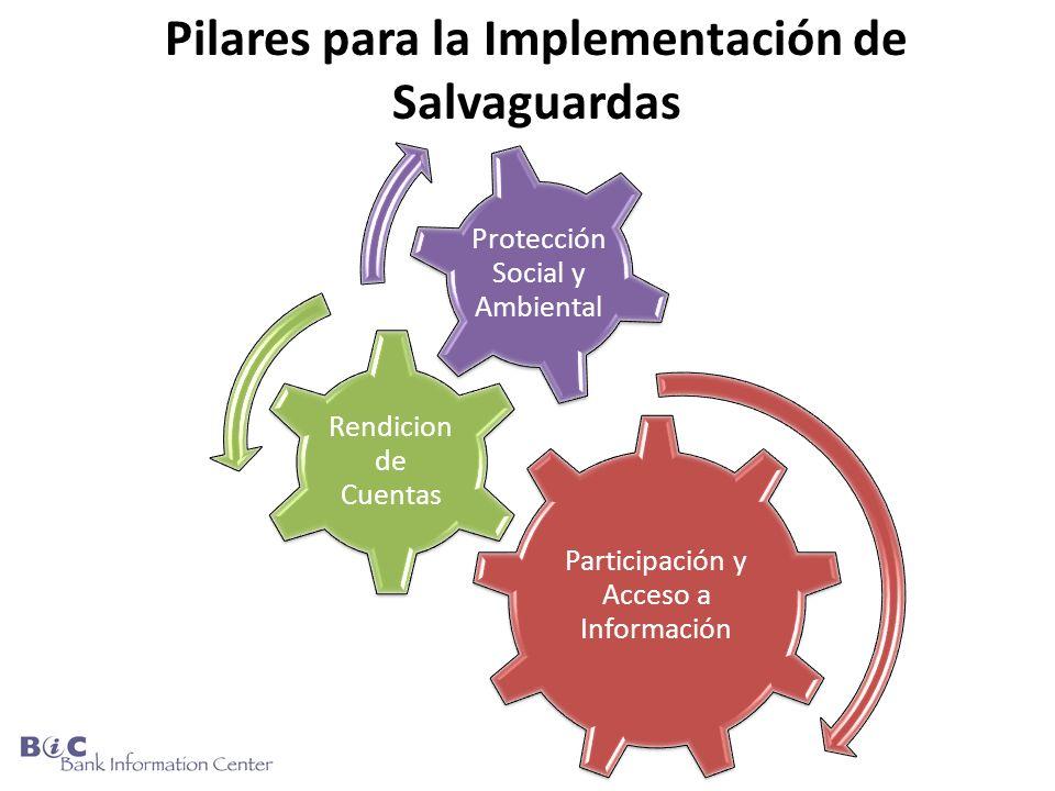 Pilares para la Implementación de Salvaguardas Participación y Acceso a Información Rendicion de Cuentas Protección Social y Ambiental