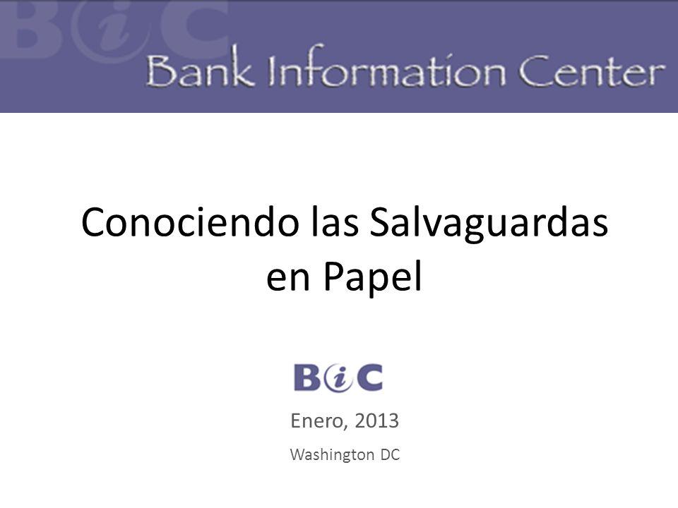 Conociendo las Salvaguardas en Papel BIC Enero, 2013 Washington DC