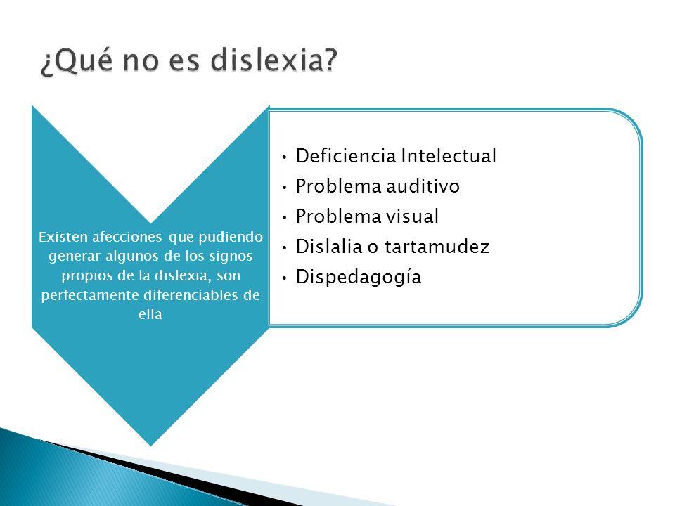 Existen afecciones que pudiendo generar algunos de los signos propios de la dislexia, son perfectamente diferenciables de ella Deficiencia Intelectual Problema auditivo Problema visual Dislalia o tartamudez Dispedagogía