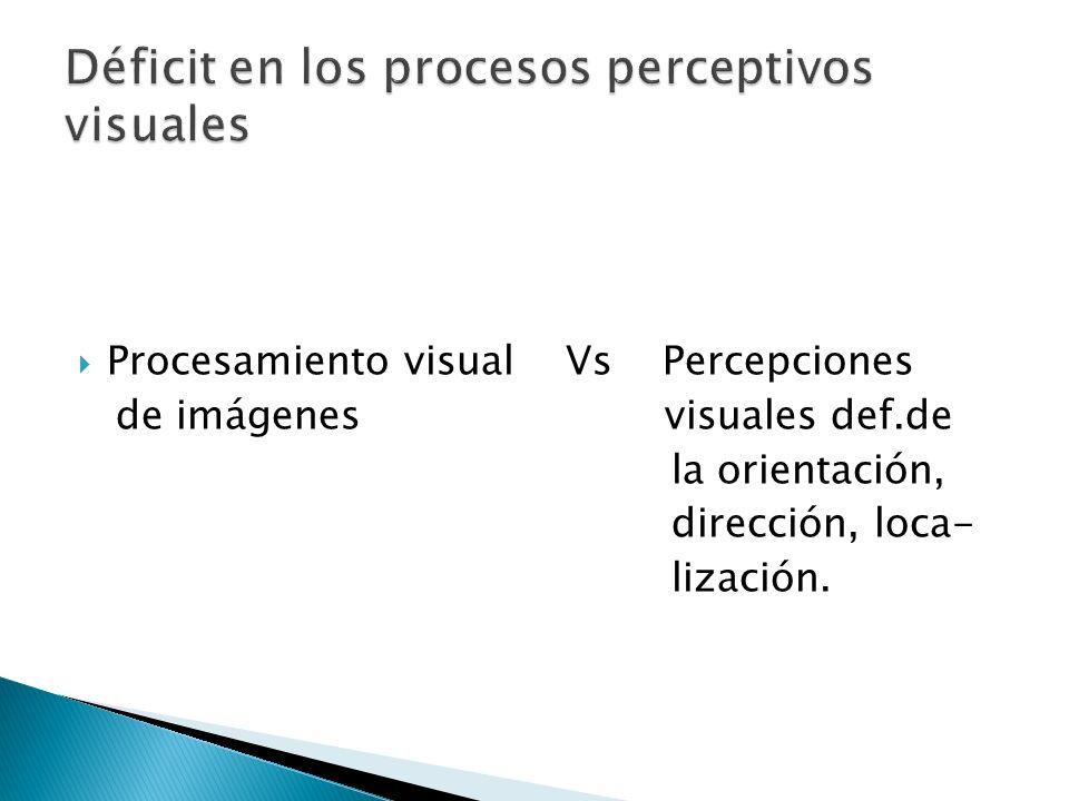 Procesamiento visual Vs Percepciones de imágenes visuales def.de la orientación, dirección, loca- lización.
