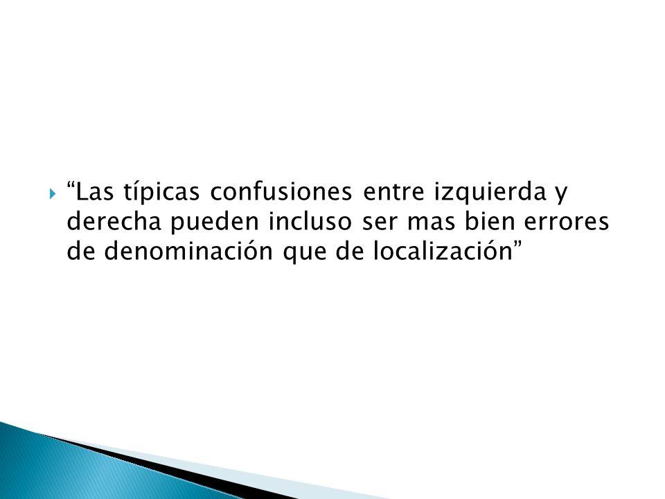 Las típicas confusiones entre izquierda y derecha pueden incluso ser mas bien errores de denominación que de localización