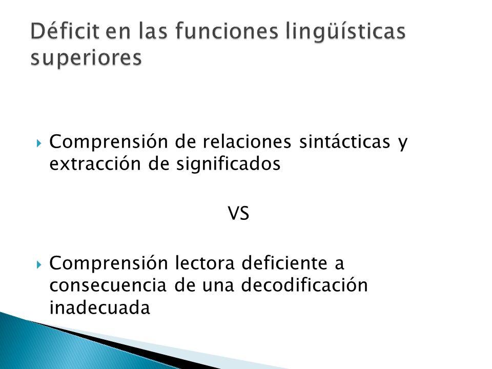 Comprensión de relaciones sintácticas y extracción de significados VS Comprensión lectora deficiente a consecuencia de una decodificación inadecuada