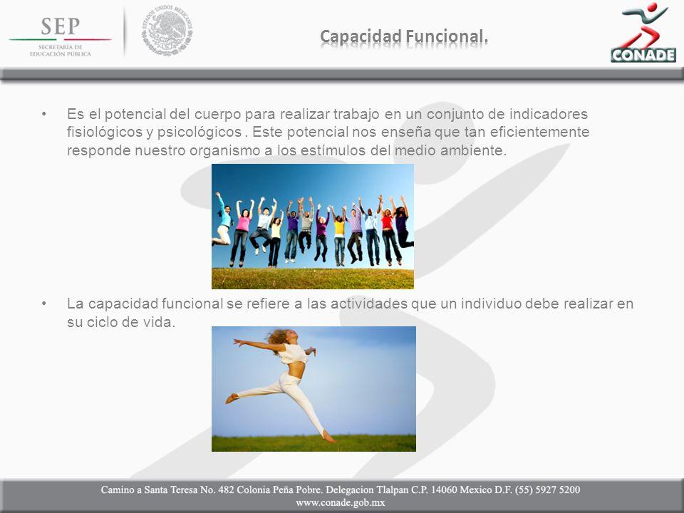 Es el potencial del cuerpo para realizar trabajo en un conjunto de indicadores fisiológicos y psicológicos.
