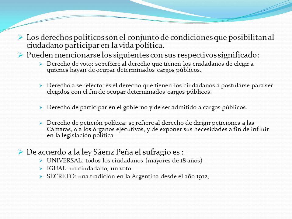 Los derechos políticos son el conjunto de condiciones que posibilitan al ciudadano participar en la vida política.