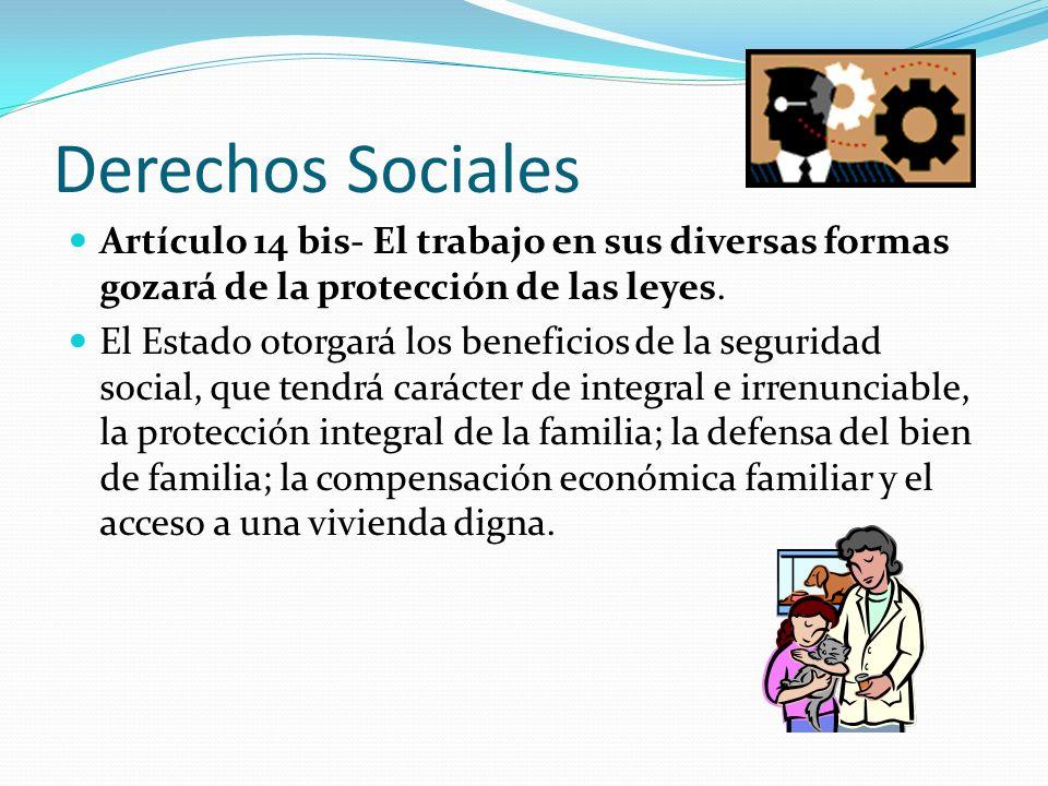 Derechos Sociales Artículo 14 bis- El trabajo en sus diversas formas gozará de la protección de las leyes.