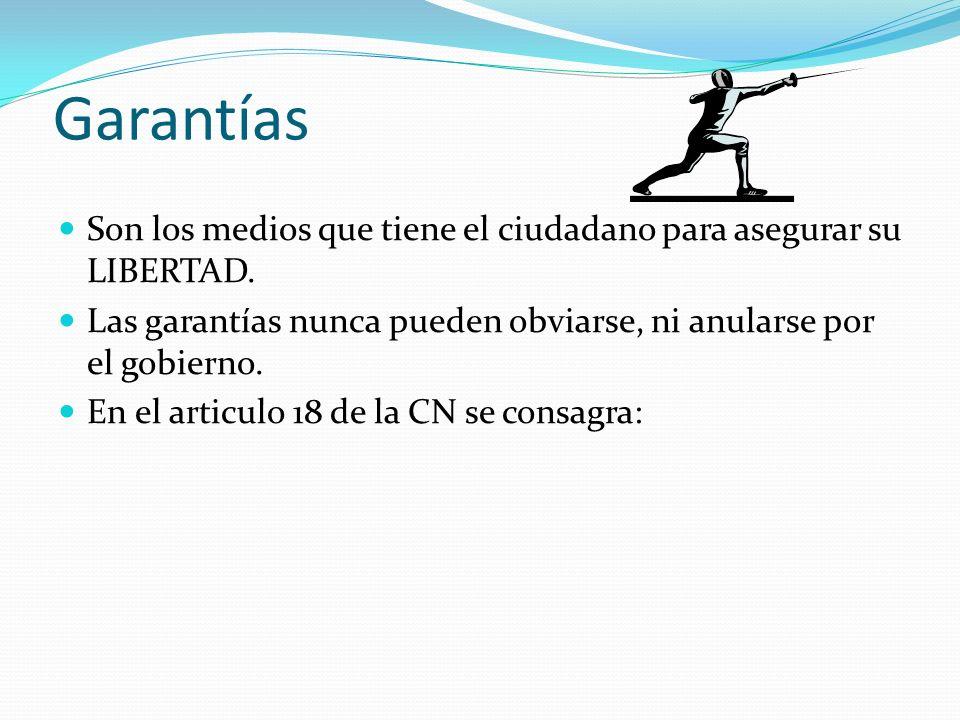 Garantías Son los medios que tiene el ciudadano para asegurar su LIBERTAD.
