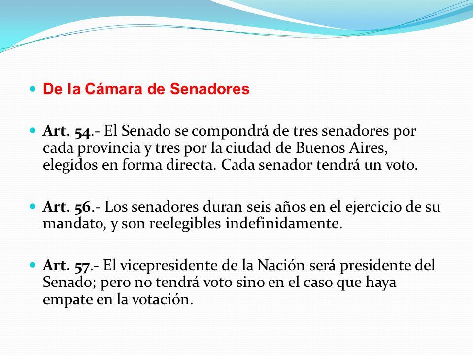 De la Cámara de Senadores Art.