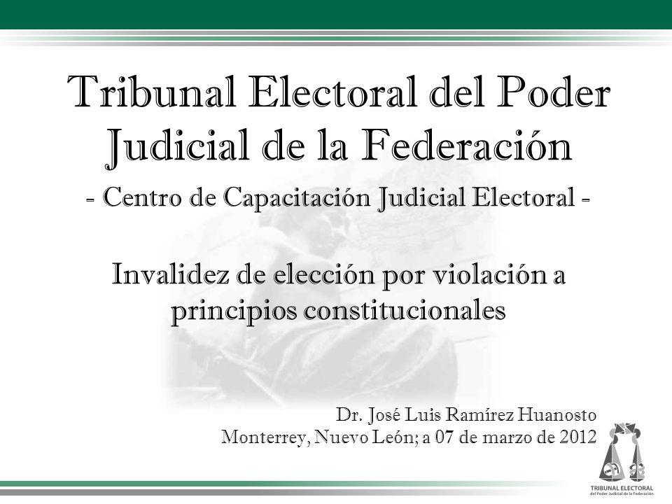 Tribunal Electoral del Poder Judicial de la Federación - Centro de Capacitación Judicial Electoral - Invalidez de elección por violación a principios constitucionales Dr.