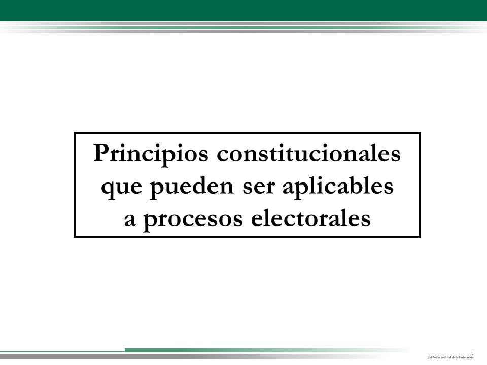 Principios constitucionales que pueden ser aplicables a procesos electorales