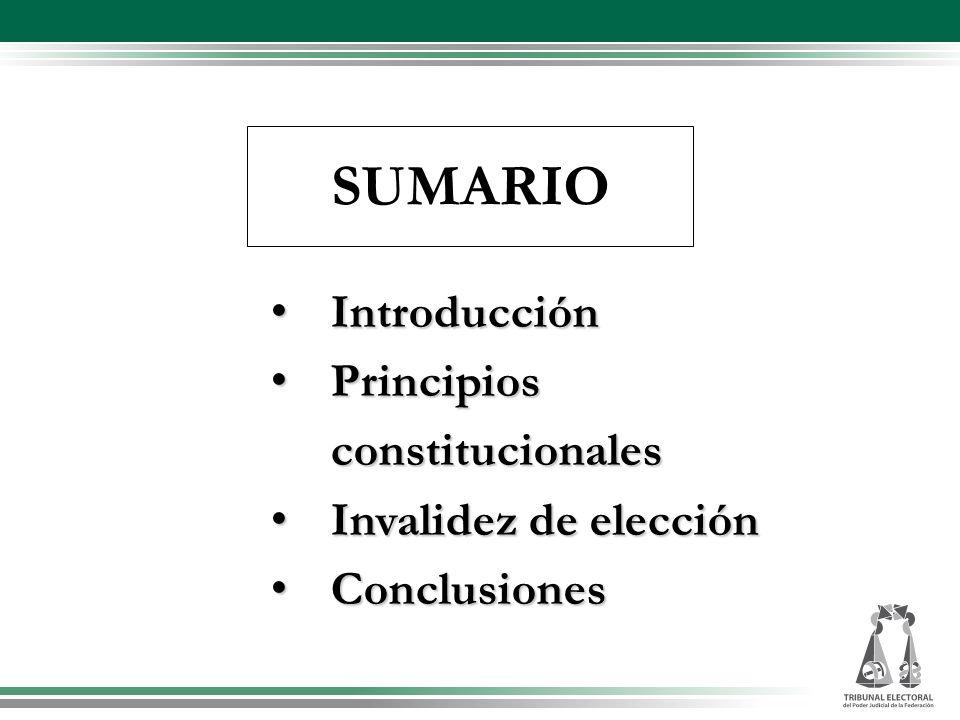SUMARIO Introducción Introducción Principios Principios constitucionales constitucionales Invalidez de elección Invalidez de elección Conclusiones Con
