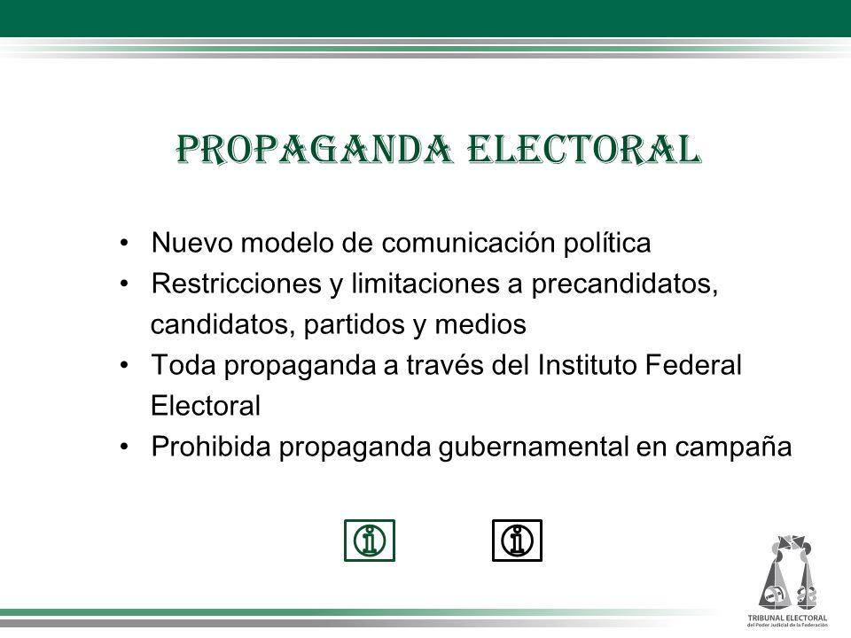 Nuevo modelo de comunicación política Restricciones y limitaciones a precandidatos, candidatos, partidos y medios Toda propaganda a través del Institu