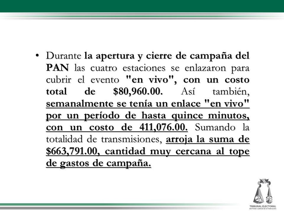 Durante la apertura y cierre de campaña del PAN las cuatro estaciones se enlazaron para cubrir el evento