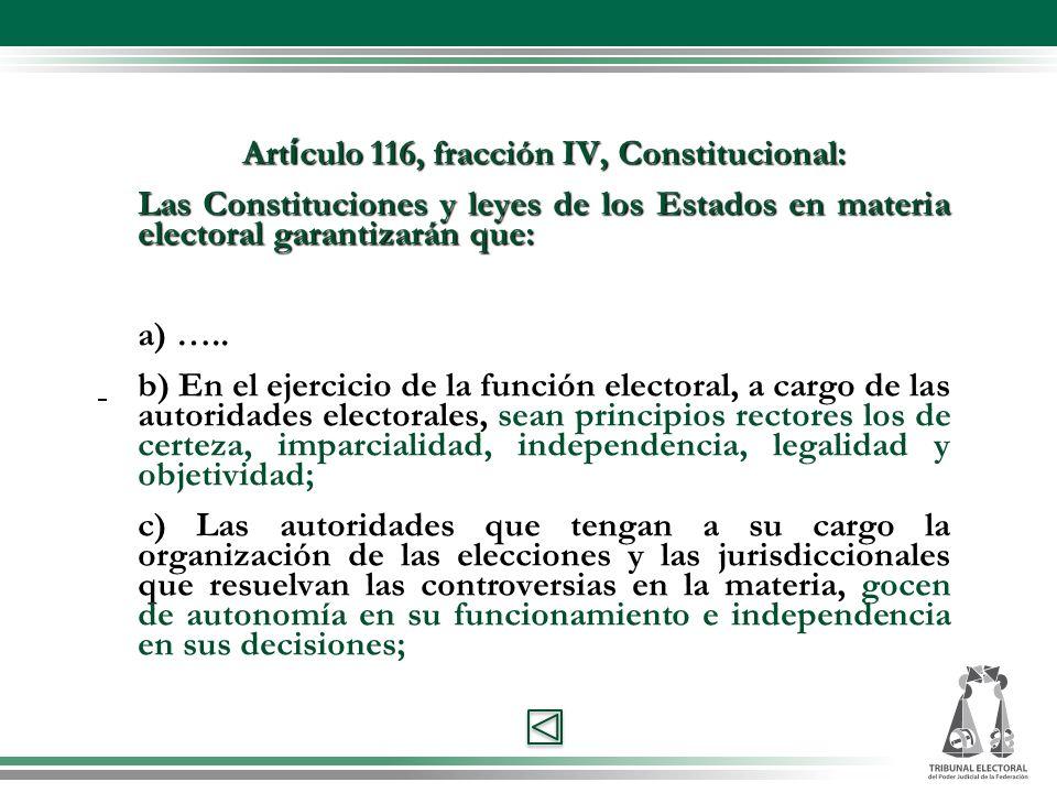 Art í culo 116, fracción IV, Constitucional: Las Constituciones y leyes de los Estados en materia electoral garantizarán que: a) …..
