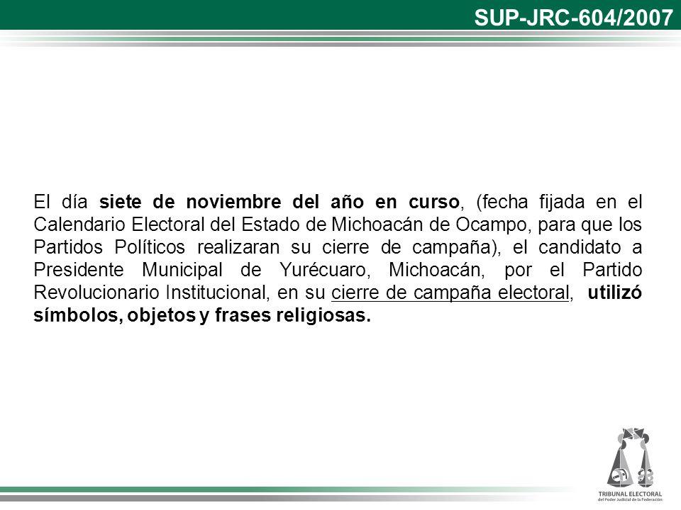 El día siete de noviembre del año en curso, (fecha fijada en el Calendario Electoral del Estado de Michoacán de Ocampo, para que los Partidos Político