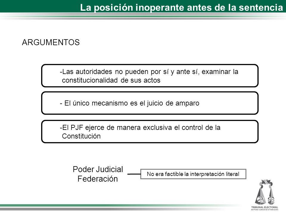 -Las autoridades no pueden por sí y ante sí, examinar la constitucionalidad de sus actos ARGUMENTOS - El único mecanismo es el juicio de amparo -El PJ