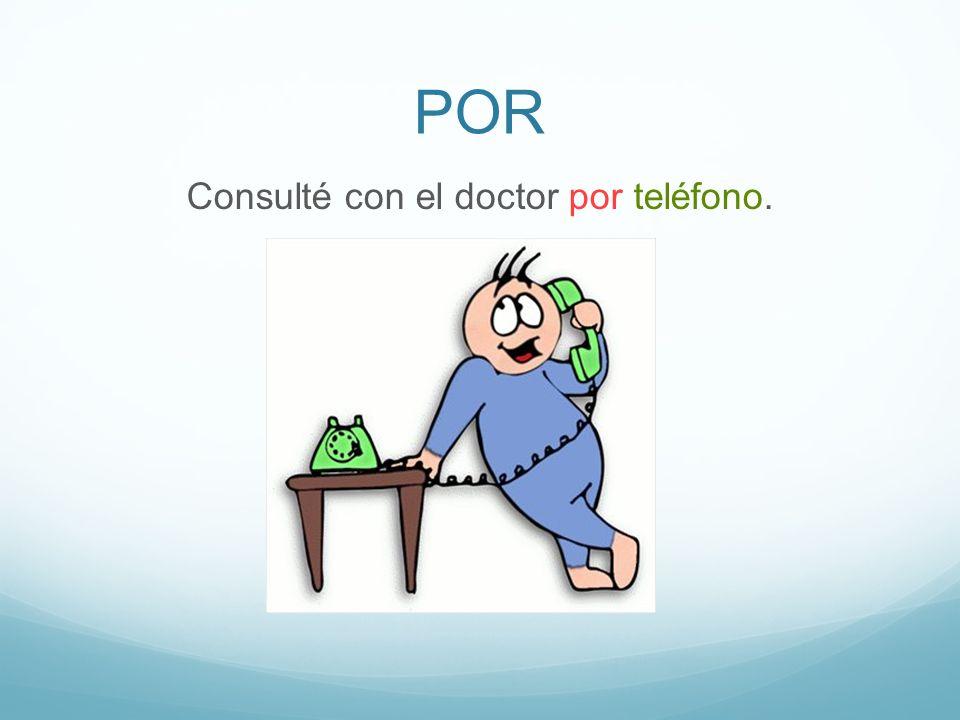 POR Consulté con el doctor por teléfono.