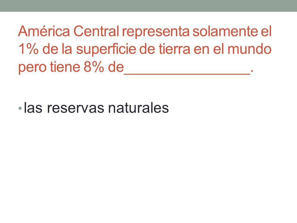 América Central representa solamente el 1% de la superficie de tierra en el mundo pero tiene 8% de________________.