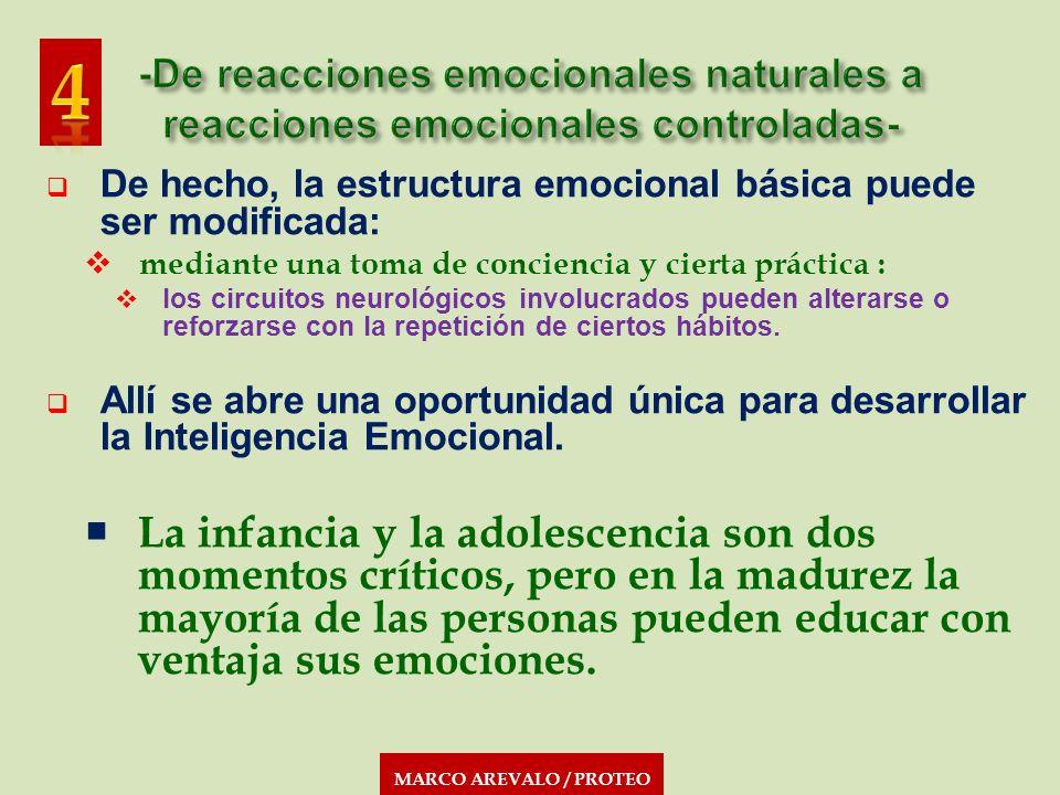 De hecho, la estructura emocional básica puede ser modificada: mediante una toma de conciencia y cierta práctica : los circuitos neurológicos involucr