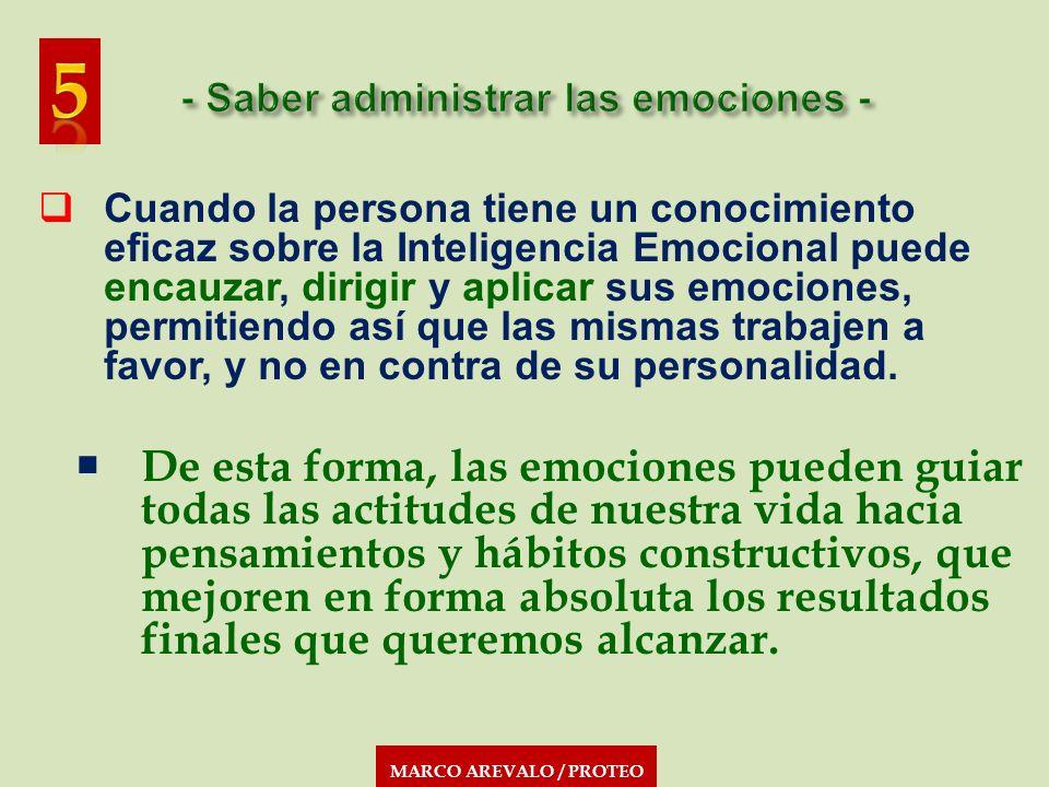MARCO AREVALO / PROTEO Cuando la persona tiene un conocimiento eficaz sobre la Inteligencia Emocional puede encauzar, dirigir y aplicar sus emociones,