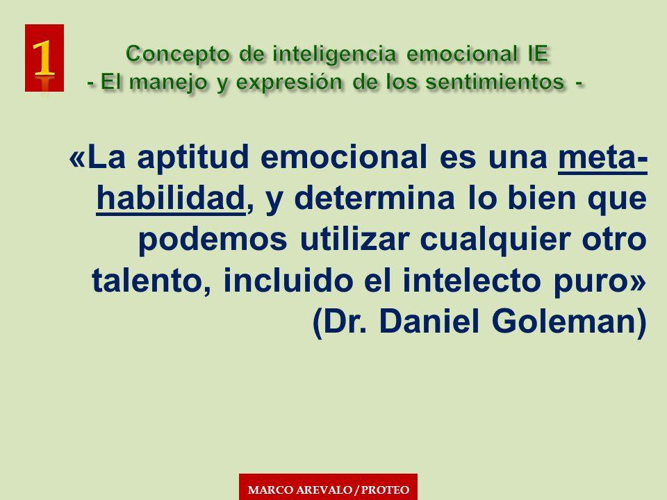 MARCO AREVALO / PROTEO «La aptitud emocional es una meta- habilidad, y determina lo bien que podemos utilizar cualquier otro talento, incluido el inte