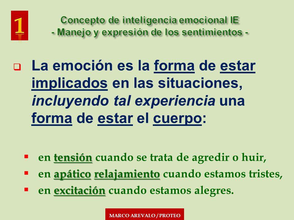 MARCO AREVALO / PROTEO La emoción es la forma de estar implicados en las situaciones, incluyendo tal experiencia una forma de estar el cuerpo: tensión