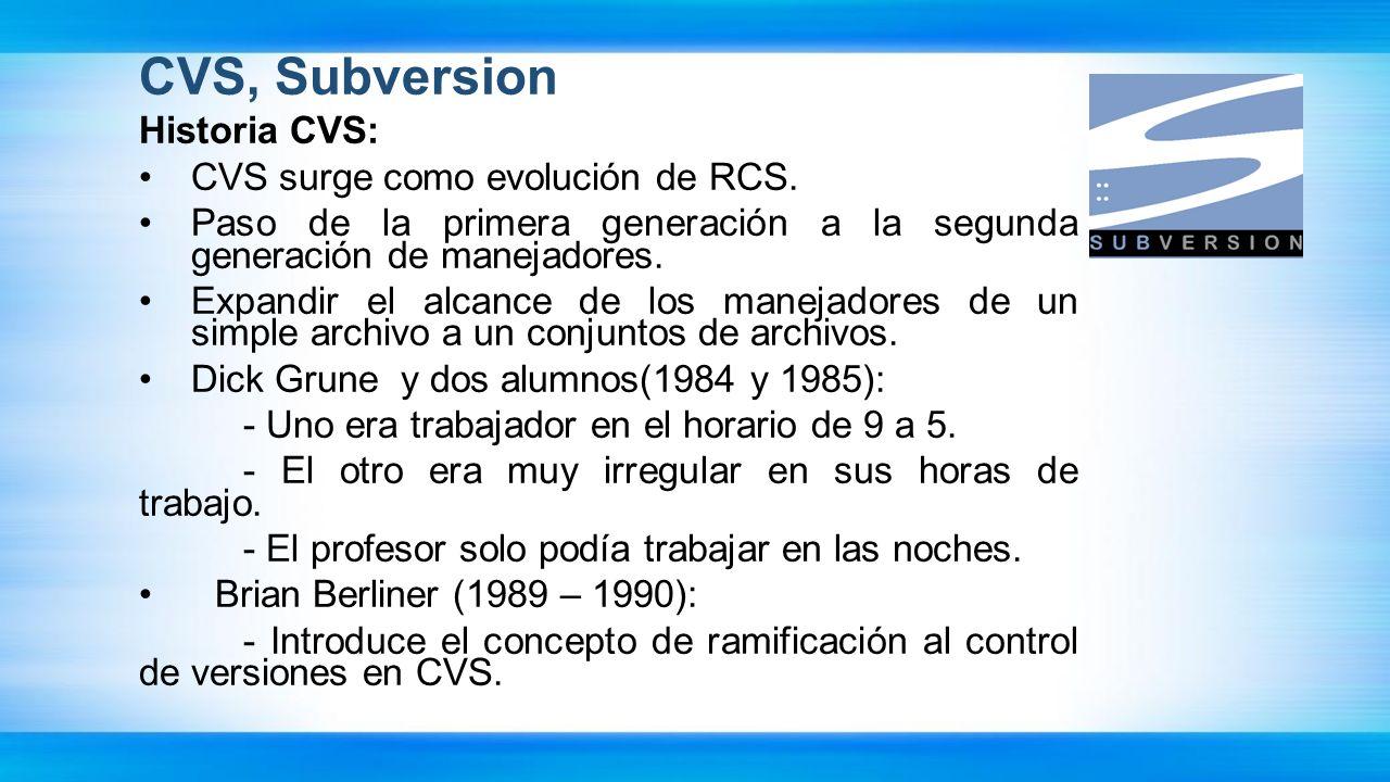 CVS, Subversion Historia CVS: CVS surge como evolución de RCS. Paso de la primera generación a la segunda generación de manejadores. Expandir el alcan