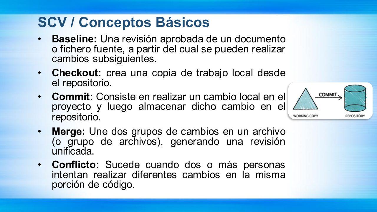 CVS, Subversion Características CVS, Subversion: La solución copiar-modificar-mezclar: - Modelo del tipo copiar-modificar-mezclar como alternativa al bloqueo.