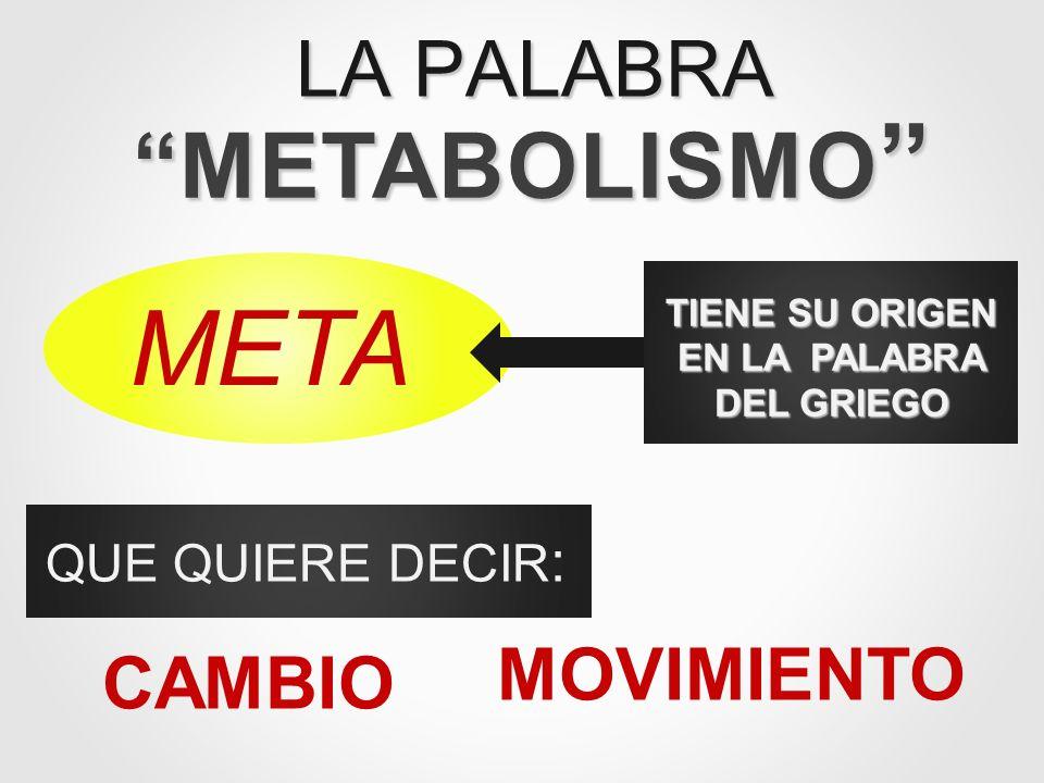 LA PALABRA METABOLISMO TIENE SU ORIGEN EN LA PALABRA DEL GRIEGO META QUE QUIERE DECIR : CAMBIO MOVIMIENTO