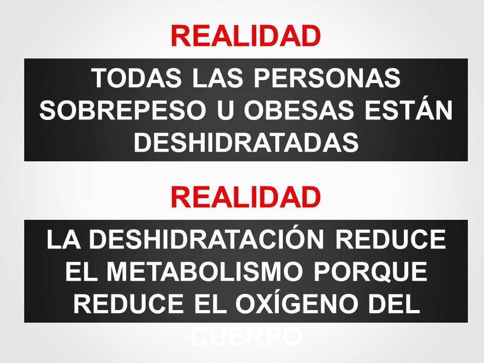 TODAS LAS PERSONAS SOBREPESO U OBESAS ESTÁN DESHIDRATADAS REALIDAD LA DESHIDRATACIÓN REDUCE EL METABOLISMO PORQUE REDUCE EL OXÍGENO DEL CUERPO REALIDA