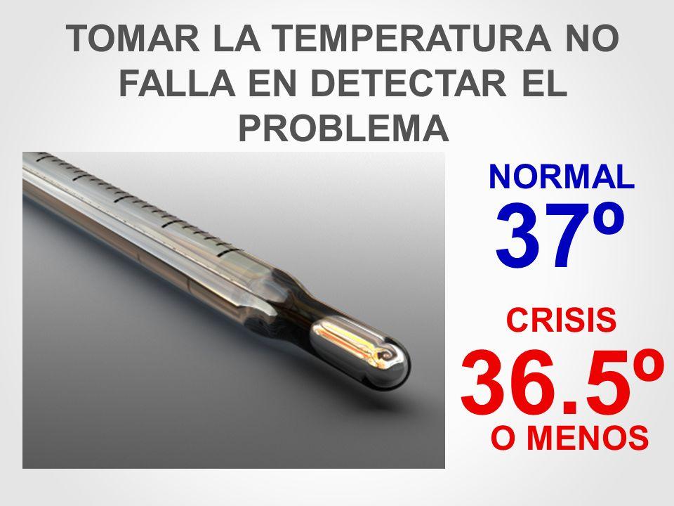 TOMAR LA TEMPERATURA NO FALLA EN DETECTAR EL PROBLEMA 37º NORMAL CRISIS 36.5º O MENOS
