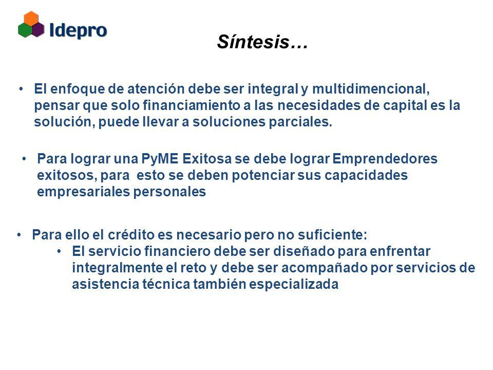Síntesis… El enfoque de atención debe ser integral y multidimencional, pensar que solo financiamiento a las necesidades de capital es la solución, puede llevar a soluciones parciales.
